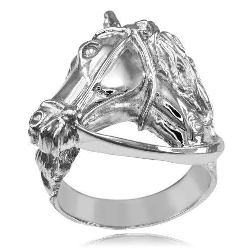 Sterling Silver Equestrian Horse Head Men's Ring