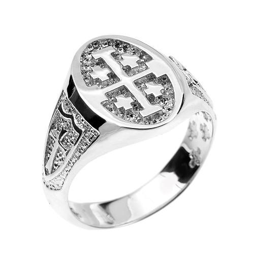 White Gold Jerusalem Cross Unisex Ring
