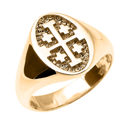 Solid Yellow Gold Jerusalem Cross Unisex Ring
