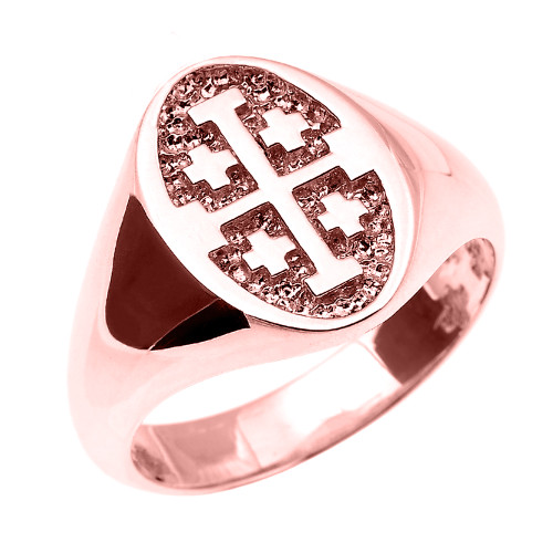 Solid Rose Gold Jerusalem Cross Unisex Ring