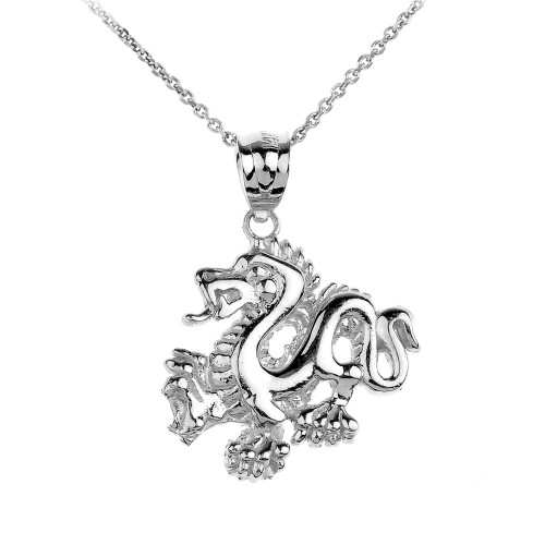 Sterling Silver Dragon Charm Pendant Necklace