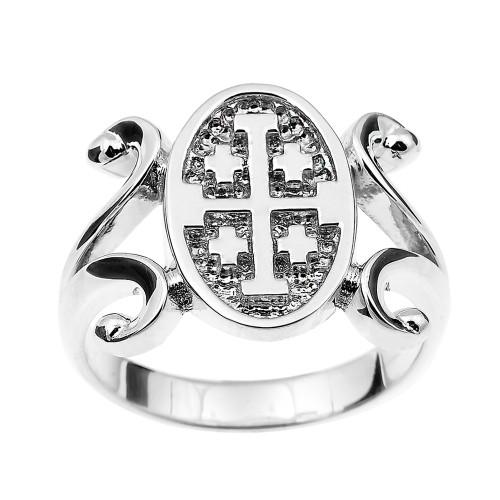 White Gold Jerusalem Cross Ladies Ring