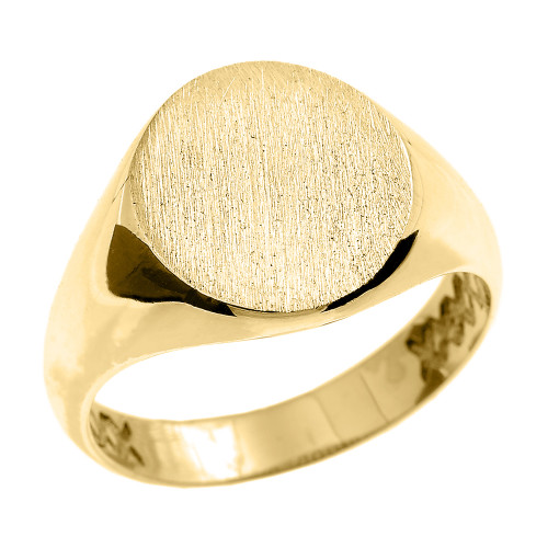 Yellow Gold Oval Engravable Men's Signet Ring
