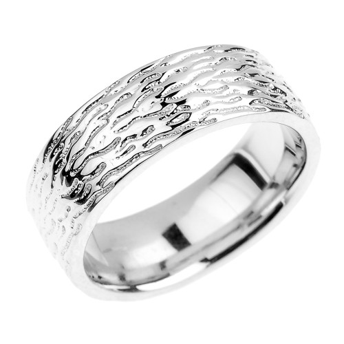 Textured White Gold Wedding Band - 7 MM