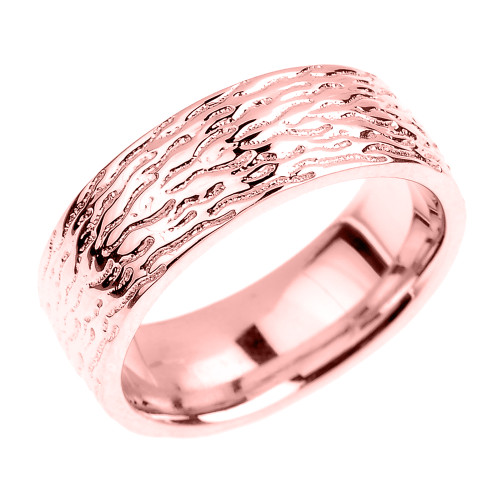 Textured Rose Gold Wedding Band - 7 MM