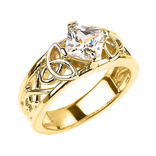 Yellow Gold Celtic Knot Princess Cut CZ Engagement Ring