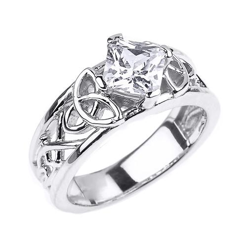 White Gold Celtic Knot Princess Cut CZ Engagement Ring