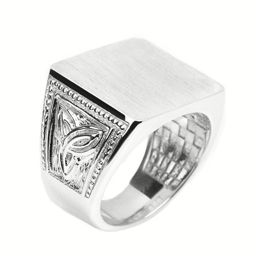 Sterling Silver Trinity Knot Square Top Engravable Men's Signet Ring