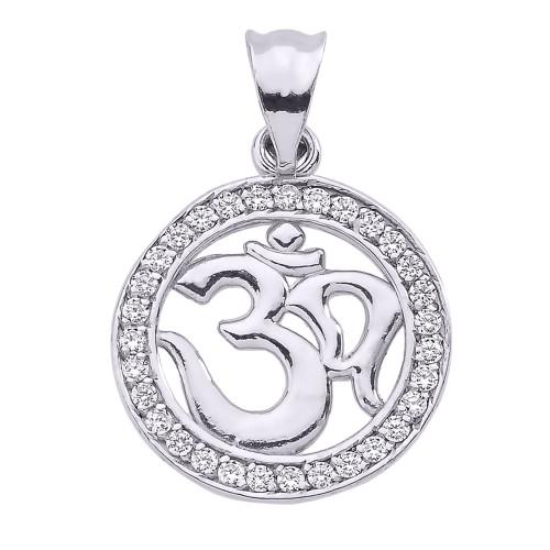 Sterling Silver CZ Studded Om/Ohm Pendant