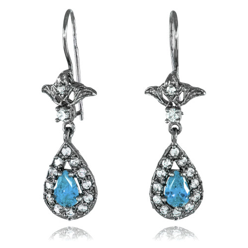 Black Silver Teardrop Aquamarine CZ Earrings