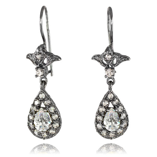 Black Silver Teardrop Clear CZ Earrings