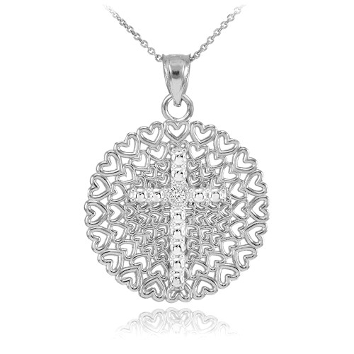 Sterling Silver Filigree Heart Cross CZ Pendant Necklace