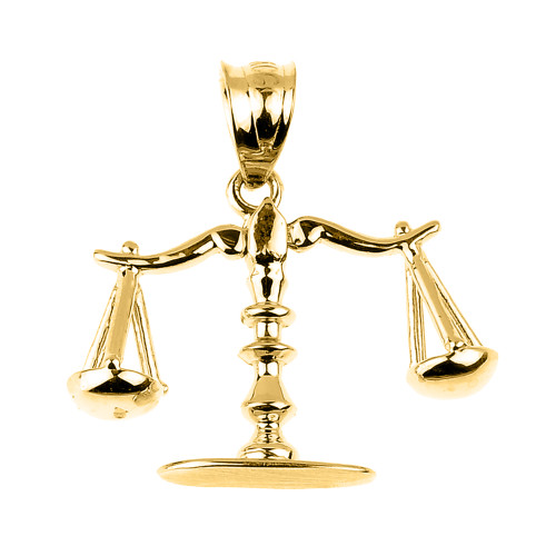 Yellow Gold 3D Scales of Justice Charm Pendant