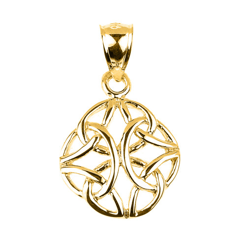 Yellow Gold Celtic Trinity Knot Charm Pendant