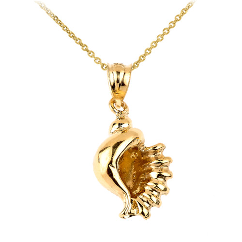 Solid Gold Sea Shell Charm Necklace