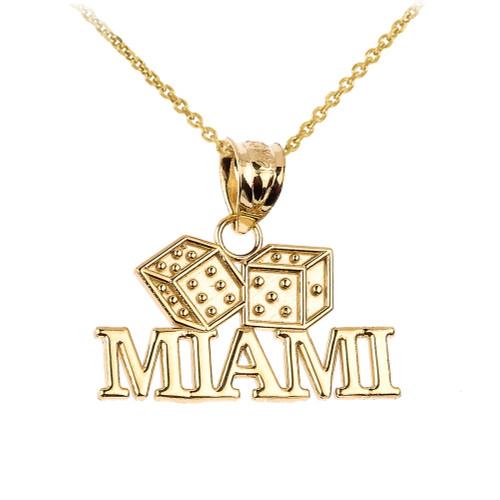 Gold MIAMI Dice Pendant Necklace