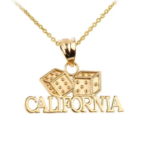 Gold CALIFORNIA Dice Pendant Necklace