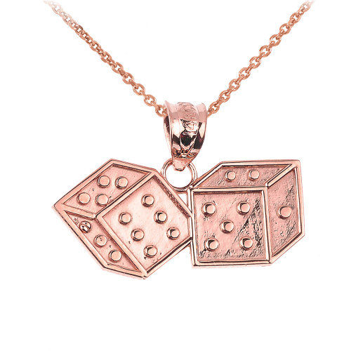 Rose Gold Dice Pendant Necklace