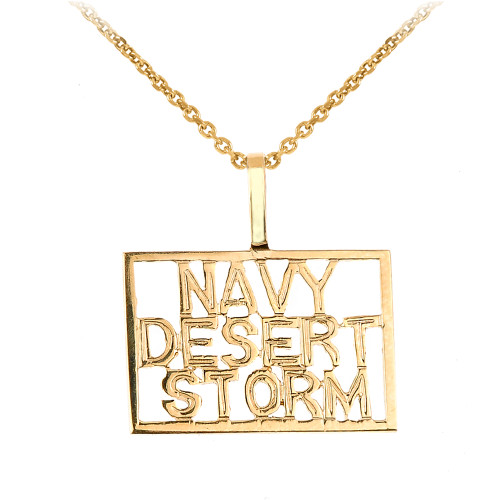 Gold NAVY DESERT STORM Pendant Necklace