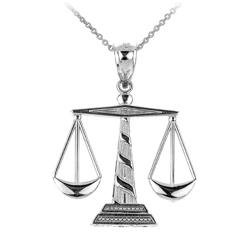 Polished White Gold Scales of Justice Pendant Necklace