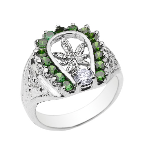 Sterling Silver Horseshoe with Marijuana Leaf Cannabis Men's Ring