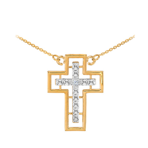 14K Two Tone Gold Cross Diamond Necklace