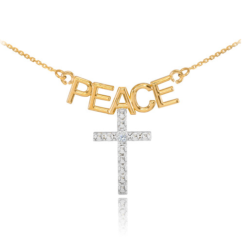 14K Two Tone Gold PEACE Cross Diamond Necklace