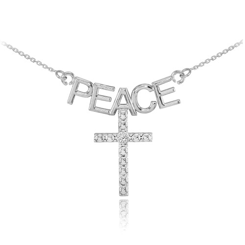 14K White Gold PEACE Cross Diamond Necklace