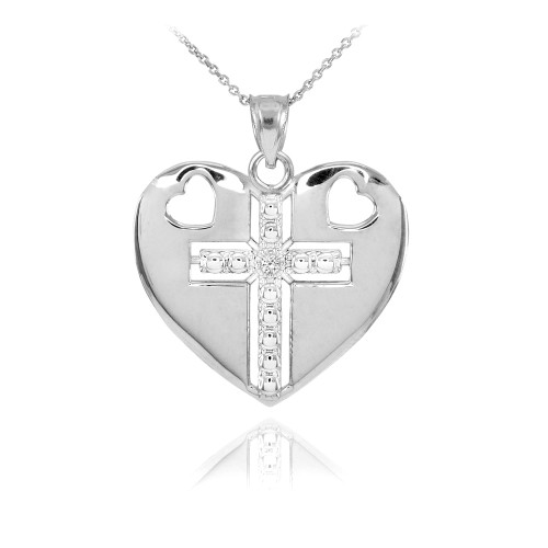 14K White Gold Heart Cross Diamond Pendant Necklace