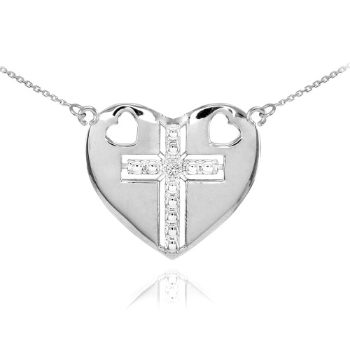 14K White Gold Heart Cross Diamond Necklace