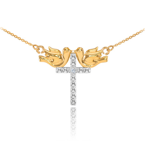 14K Two Tone Gold Pigeon Cross Diamond Necklace