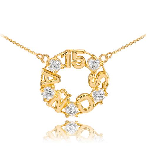 14K Yellow Gold 15 Años CZ Necklace