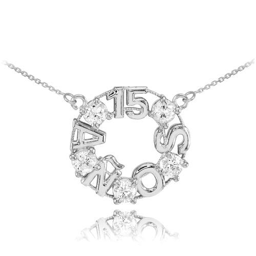 14K White Gold 15 Años CZ Necklace