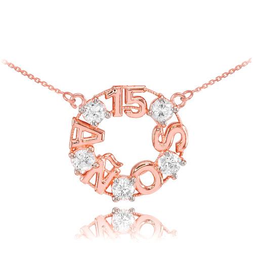 14K Rose Gold 15 Años CZ Necklace