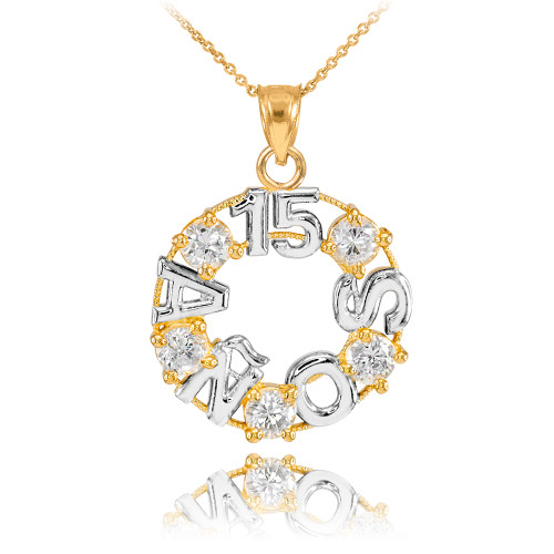 14K Two Tone Yellow and White Gold 15 Años CZ Pendant Necklace