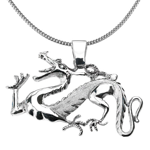 Sterling Silver Dragon Pendant Necklace