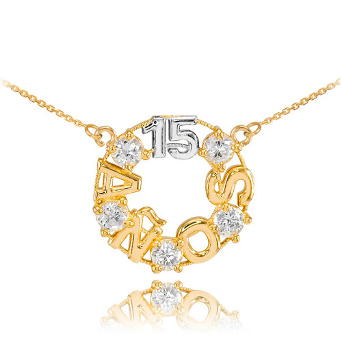 14K Two Tone Gold 15 Años CZ Necklace