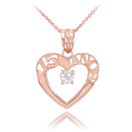 14K Rose Gold 15 Años Heart CZ Pendant Necklace