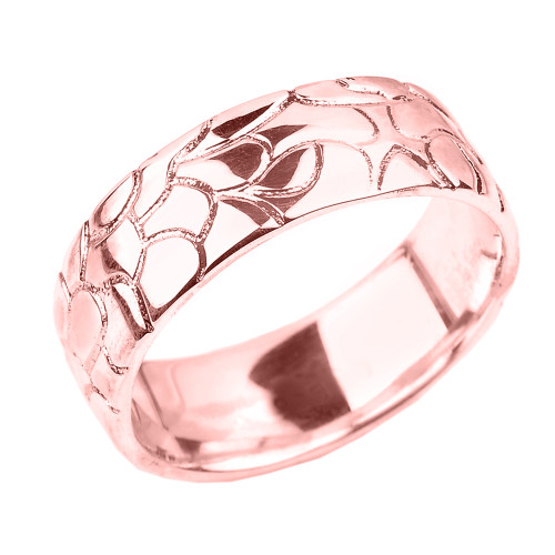 Rose Gold Nugget Wedding Band - 7 MM