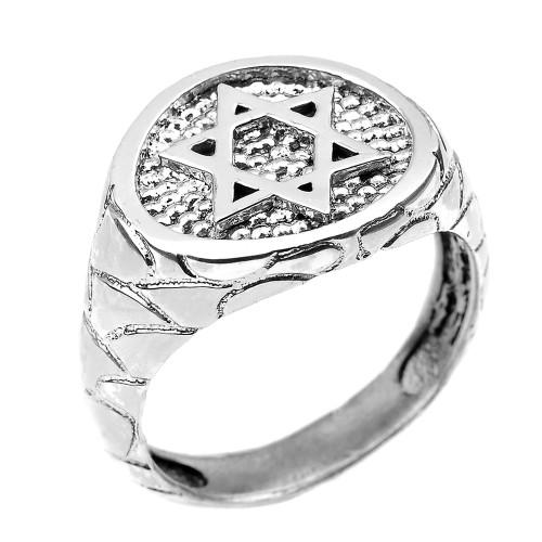 White Gold Star of David Men's Ring