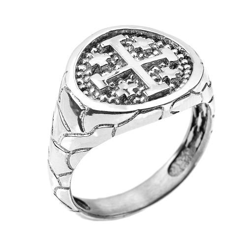 White Gold Jerusalem Crusaders Cross Men's Ring