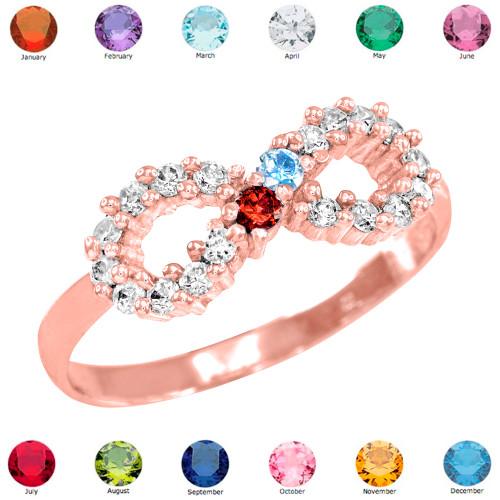 Rose Gold Infinity CZ Birthstone Ring