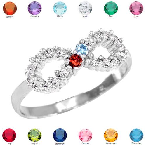 Sterling Silver Infinity CZ Dual Birthstone Ring