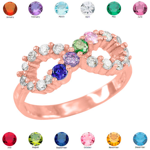 Rose Gold Infinity CZ Four Birthstone Ring
