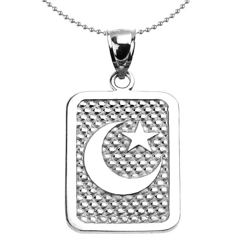 Sterling Silver Crescent Moon Engravable Pendant Necklace