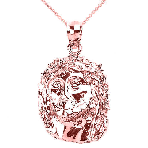 Polished Rose Gold Jesus Face Pendant Necklace