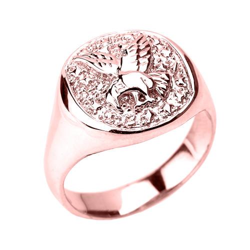 Rose Gold Landing Eagle Men's Ring