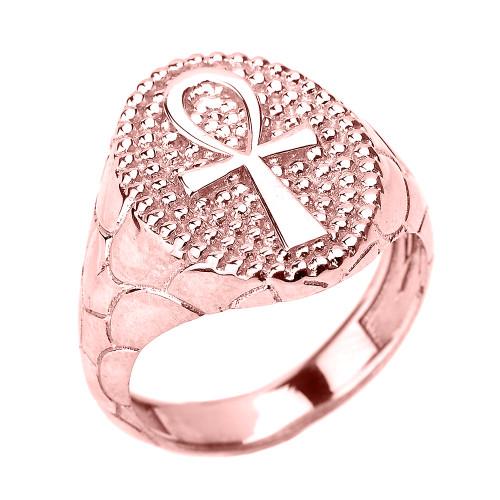 Rose Gold Egyptian Ankh Cross Men's Ring