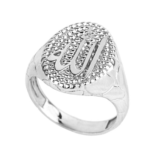 Sterling Silver Allah Men's Oval Ring