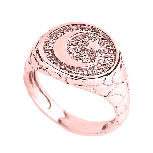 Rose Gold Islamic Crescent Moon Men's Ring